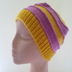 Striped Wool Cap for Small Adult, Teenager or Older Child