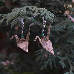 Brown Origami Earrings