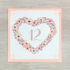 Birthday Card Floral Heart Wreath Blush - Personalised Age or Name