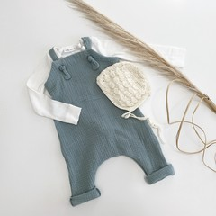 "Sea foam  muslin ""Knot Overall""you pick size(000-2-3)"