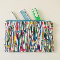 Colourful paintbrushes pencil case
