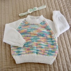 Size 0-6months hand knitted jumper with cor-ordinated headband; girl, washable