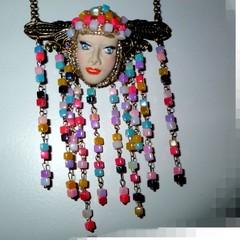 Tribal princess, Polymer clay, beads and handmade chain