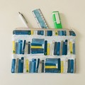 Blue and yellow books pencil case