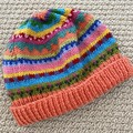 Orange Beanie - to fit approx size 1-3 years -hand knitted