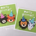 Party Animal card, Zoo or safari. Happy birthday, first birthday party.
