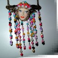 Tribal princess, Polymer clay, beads and handmade chain