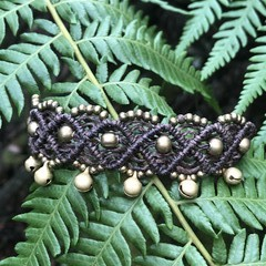 Macrame anklet with bells