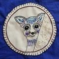 Original embroidery blue tote bag