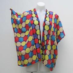 Spotted plus size kimono, Short kimono jacket, boho kimono, multi colour jacket