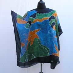 Blue plus size caftan, starfish Tunic, boho cover up, upcycled tunic