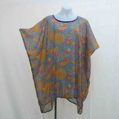 Blue and yellow plus size tunic, blue caftan, plus kaftan, paisley cover up