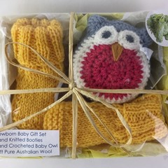 Newborn Baby Gift Set | Booties | Owl | Hand Knitted | Hand Crocheted | Wool