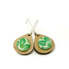 Earrings - Timber and Fabric Button Kimono Teardrops