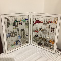 Earring organiser, Post/stud and loop earring display frame and storage.