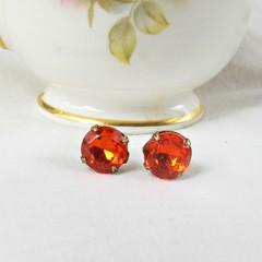 Orange Earrings Ear Studs Vintage Glass Bridesmaid Earrings Round Glam Jewellery