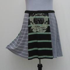 Green and gray striped plus sizeSkirt, upcycled t skirt, tee shirt skirt, grey