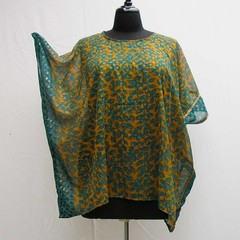 Teal and mustard plus size caftan, teal tunic, cover up, upcycled boho kaftan