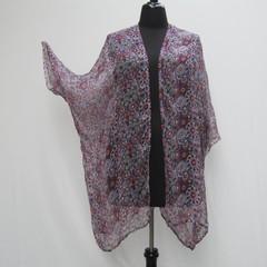 White and purple plus size Kimono, silk kimono, purple jacket, boho cover up