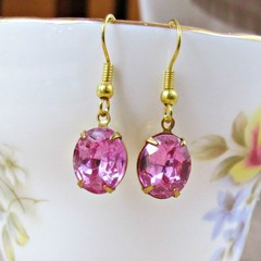Rose Pink Drop Earrings Jewellery For Women Teens Girls Dangle Gold Plate