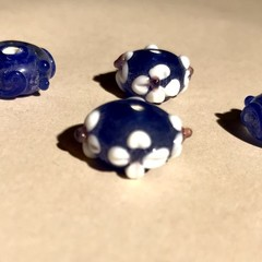 Glass beads assortment - Blue  - 15mm- 4 pieces
