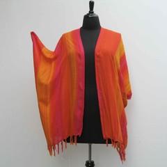 Orange and pink plus size Kimono, boho kimono, lagenlook jacket, boho cover up