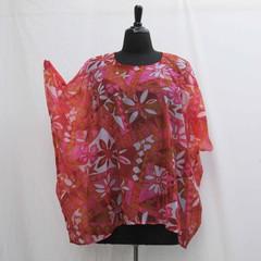 Orange and hot pink plus size Caftan, hot pink tunic, cover up, boho kaftan