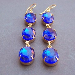 Sapphire Blue Estate Style Earrings Bridal Long Drop Crystal Gold Vermeil