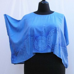Blue plus size Shrug, cornflower lace shrug, crop top, cover up, upcycled