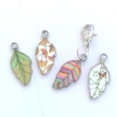 silver leaf charm, planner accessories, silver leaf, leaf pendant, leaf necklace