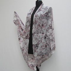 White and Pink plus size Kimono, cocoon jacket, lagenlook wrap, cover up