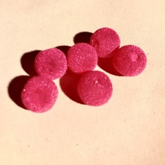 Round velvet beads - Hot pink- 12mm - 6 pieces