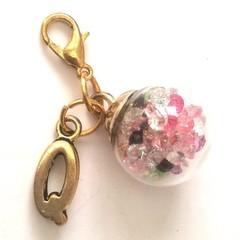 glass ball charm, gold globe with gems inside, princess jewelry, pastel charms,