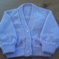 BABY GIRL'S LILAC V-NECKED CARDI TO FIT 0-3 MTHS IN PATON'S 4PLY ACRYLIC YARN.