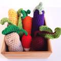 Crochet vegetables; toy food; pretend play kitchen set