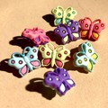 Butterfly button -20x15mm - 8 pieces  - Pink purple yellow lime light blue
