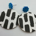 Monochrome with glitter blue acrylic earrings