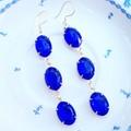 Sapphire Blue Estate Style Earrings Bridal Long Drop Crystal Gold Vermeil