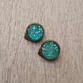 CLIP ON EARRINGS, FAUX DRUZY BLUE EARRINGS, BRONZE CLIP ON EARRINGS, BLUE