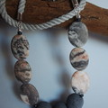 Pink and grey beaded necklace