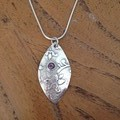 Recycled 99.9% Silver and Amethyst Pendant on a SS chain