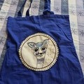 Original embroidery blue tote bag
