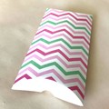 Paper Pillow Boxes - 17x8x2.5cm - White pink green - Baby shower, lollies - 8 p