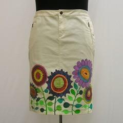 Lemon hand painted plus size Skirt,  denim lemon skirt, graffiti flowers skirt