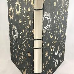 Handmade Journal or Sketchbook using Coptic Stitch, Lays Flat, Sun Moon Stars