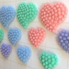 3 resin hearts set, embellishments for crafts, embellishments for scrapbooking,