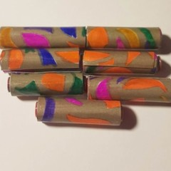 handmade hand colored designer paper beads set of eight in pinks and oranges