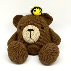 Crochet Bear and Honey Bee, FREE DELIVERY, crochet animal, personalised toy