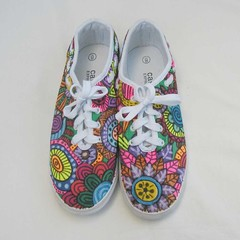 Hand painted sneakers, graffiti flower shoes, wearable art Shoes, upcycled shoes