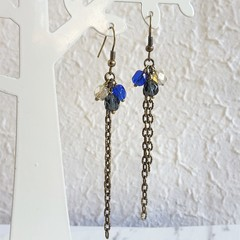Vintage style long chain beaded tassel dangling earrings , Navy blue Gray Cream